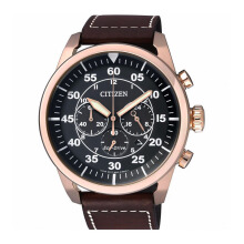 CITIZEN Eco Drive Watch - Brown Leather Strap/Black Gold Dial 45mm Gents [CA4213-00E]