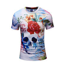 SESIBI 3D T Shirts Men's Summer Printing Tees -Skull Head and Flowers -