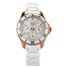 Alexandre Christie AC 2476 NB FBRGSL Ladies White Dial Rose Gold Case White Ceramic Strap [ACF-2476-NBFBRGSL]