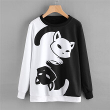 BESSKY Womens Cat Printing Long Sleeve Sweatshirt Pullover Tops Blouse_