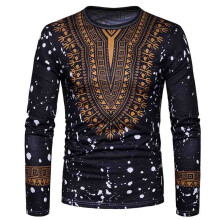 BESSKY  Men's Casual African Print O Neck Pullover Long Sleeved T-shirt Top Blouse_