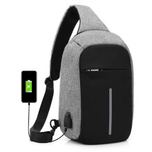 Anti-theft Sling Bag with USB Charging Slot Outdoor Travelling Shoulder Bag