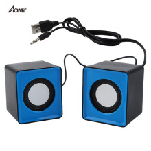 Aamir Portable speaker Mini USB 2.0 speakers Music Stereo for computer Desktop PC Laptop Notebook Blue