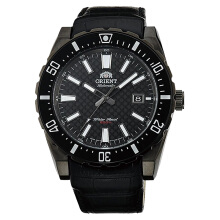 Orient Nami Automatic Men Carbon Black Dial Black Leather Strap [FAC09001B]