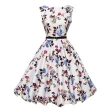 BESSKY Women Vintage Floral Bodycon Sleeveless Casual Evening Party Prom Swing Dress_