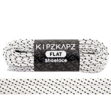 KIPZKAPZ FS57 Flat Shoelace - White Black Stripes [8mm]