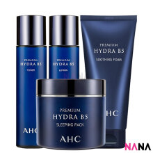AHC Premium Hydra B5 Set: Toner + Lotion + Soothing Foam + Sleeping Pack