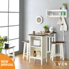 LIVIEN Furniture Meja Makan Zahra - Home Cafe - White Dark Brown