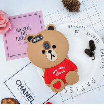 VEN Fashion For Oppo A83 Case Soft Silicon Cute 3D Brown Bear From New York with Red Heart Cartoon Phone Cases