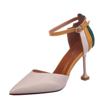 BESSKY Women's Fashion Thin Heels Shoes Patchwork Ankle Strap High Heels Shoes_