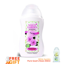 WHITE GARDEN Shower Cream Pink Rose 250ml - Free Pure Goat's Milk & Pearl 250ml
