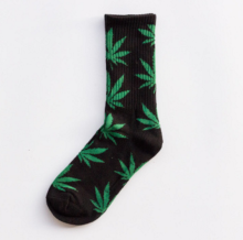 Cool My style CS-17 California skate city Maple leaf socks(about 19cm)-Black