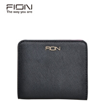 FION Cow Leather Short Wallet - Black/Grey/Red