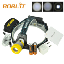 Boruit Upgraded B11 XM-L T6 LED Headlamp Rechargeable Zoomable Head Light Headlight Torch 18650 PCB Batteries Micro USB yellow