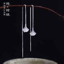 Luo Ling Long Silver ginkgo leaf earrings