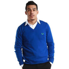 Fredperry Men- Blue V-Neck Sweatshirt