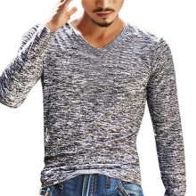 BESSKY Mens Solid V Neck Long Sleeve T Shirt Top Slim Blouse _