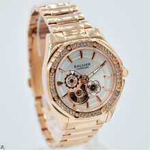 Balmer B.7981LR-D37H1308RG Small Second Shappire Crystal Stainless Steel Jam Tangan Wanita Rosegold Gold