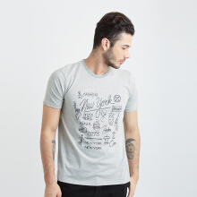 ONE HOURS City Font T-Shirt Men - Grey