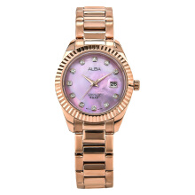 Alba Ladies Purple Mother of Pearl Dial Rose Gold Stainless Steel Strap [AH7M52X1]