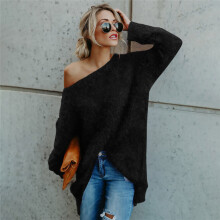 BESSKY Women Long Sleeve Sexy Off Shoulder Sweater Faux Fur Blouse Top Dress_