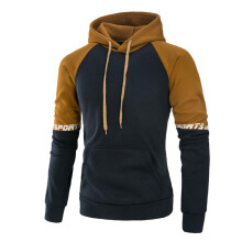 BESSKY Men's Long Sleeve Patchwork Hoodie Hooded Sweatshirt Tops Jacket Coat Outwear _