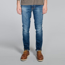 NUDIE JEANS Tape Ted Unisex - Grey Worn Indigo