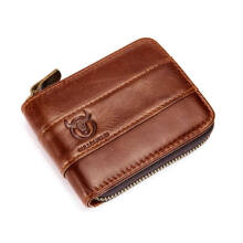 Bullcaptain RFID Antimagnetic Vintage Genuine Leather 11 Card Slots Coin Bag Wallet For Men  Brown