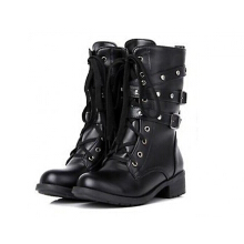 Zanzea 0051Fashion Sexy Black Punk Mid-calf Women Boots Spring Autumn All-match High Block Heel Knight Half Rivet Shoes For Ladies Black