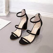 BESSKY Fashion Women Ladies Zip Sandals Ankle High Heels Block Party Open Toe Shoes_