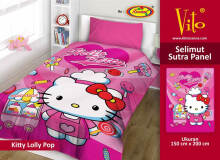 Selimut Vito Sutra Panel 150x200 Kitty Lollipop - Pink Pink