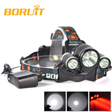 BORUIT 3x XM-L T6 White+2R5 Red LED 6000LM Bicycle Head Light Headlamp Torch+CH Camping Fishing Cycling Rock Climbing