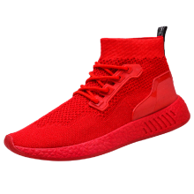 BESSKY Fashion Men High Help Soft Sole Running Shoes Gym Shoes Socks Shoes _