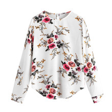 BESSKY Women Autumn Casual Print Flower Long Sleeve T-Shirt Top Blouse _