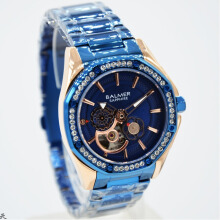Balmer B.7981LBL-D37H1338RGBR Small Second Shappire Crystal Stainless Steel Jam Tangan Wanita Rosegold Blue Blue