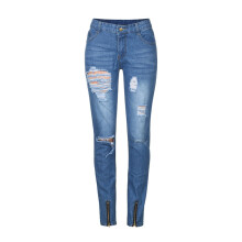 BESSKY Men Slim Biker Zipper Denim Jeans Skinny Frayed Pants Distressed Rip Trousers _