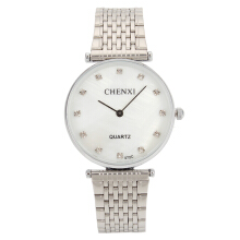 Zanzea CHENXI Couple Watch Luxury Rhinestone Silver Watch White