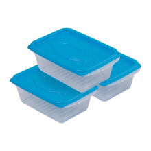 VICTORYHOME Food Box 500ml Set of 3 Transparent - Blue