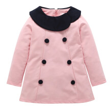 BESSKY Toddler Infant Baby Girls Warm Botton Bowknot Solid Dress Outfit Clothes_