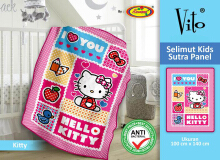 Selimut Vito Kids Sutra Panel 100x140cm Hello Kitty - Pink
