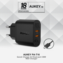 AUKEY Dual Port Turbo Charger  with Quick Charge 3.0 (PA-T16) Black