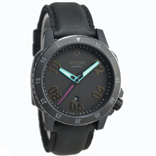 Nixon Ranger Leather Strap Mens A5081320-2957D44HTM Analog Date All Black Black