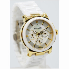 Balmer Ceramic Sapphire Crystal Stainless Steel Chain Ladies B.7929LK-774D35PTGL Multi Fungsi Putih Gold White