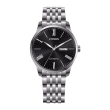 CITIZEN Automatic Watch - Silver Strap/Black Dial 40mm Gents [NH8350-59EB]