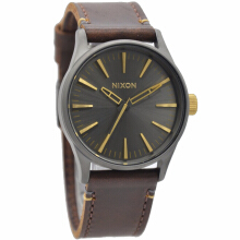 Nixon Leather Strap Unisex A377595- 2340D38CKTHT Analog Coklat Tua Hitam Dark Brown