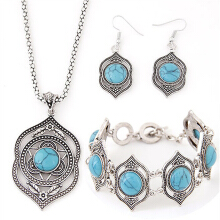 New Trendy fashion charm Retro Style Hollow Earrings Necklace bracelets Blue