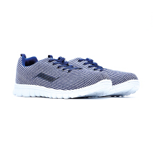 09619-Lightweight Knit Fabric Sport Shoes With Brand Logo-Blue