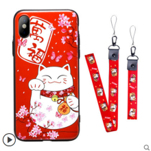 Ins V-128X Lucky Cat 3D embossed all-inclusive Silicone Iphone X shell case-Red