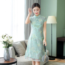Allgood Fashion Summer Women Dress Cheongsam Lace Elegance elegant casual Long Dresses