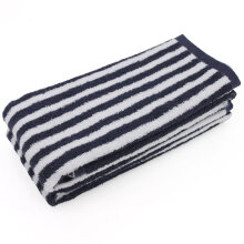 [OUTAD] Portable Cotton Unisex Washcloth High Absorbent Square Striped Soft Towel Black & White